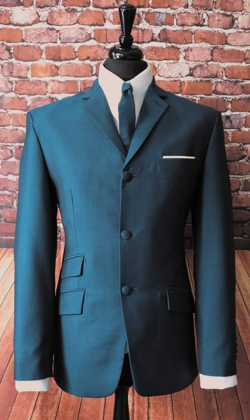 """Hatton"" Teal & Black Mohair Two Tone Suit"